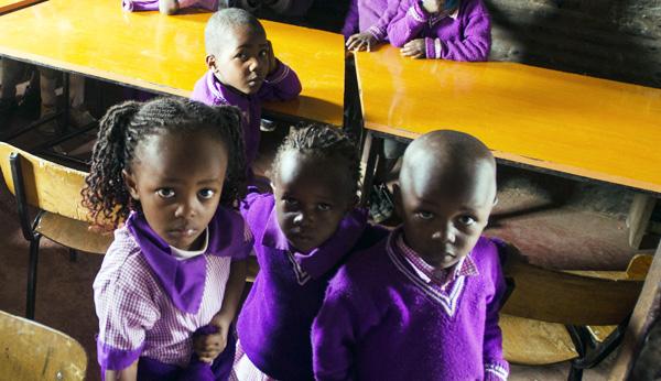 Children at a school in Korogocho, a slum in Nairobi.